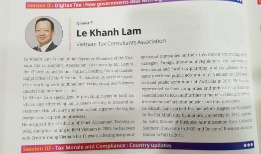 """Ông Lê Khánh Lâm – UVBCH VTCA sẽ trình bày tham luận """"Việt Nam ứng phó với thách thức thuế phát sinh từ kinh tế kỹ thuật số"""" tại Hội nghị."""