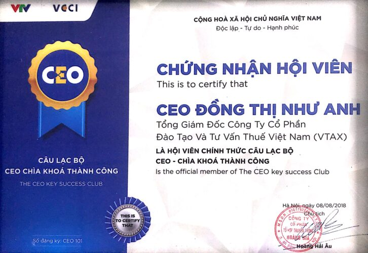180808 GCN Hội viên CEO