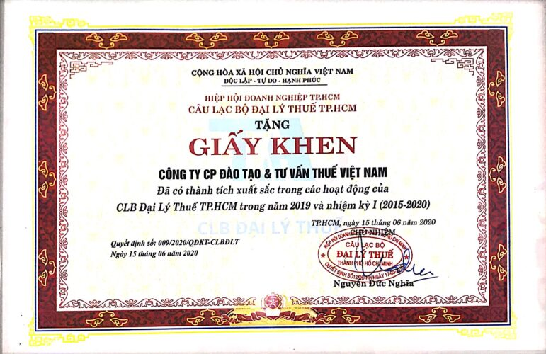 200615 Giấy khen Hiệp hội DN