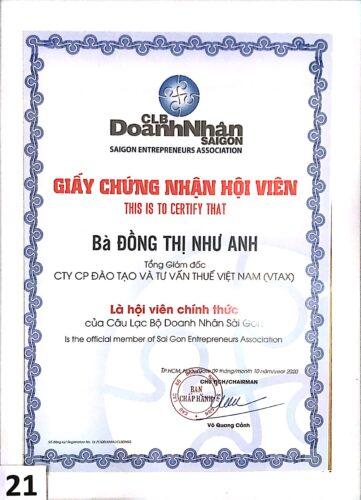 201009 GCN Hội viên CLB Doanh nhân SG
